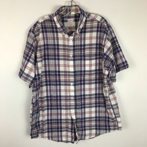 Brooks Brother Men's Plaid Button Front Shirt Sz L